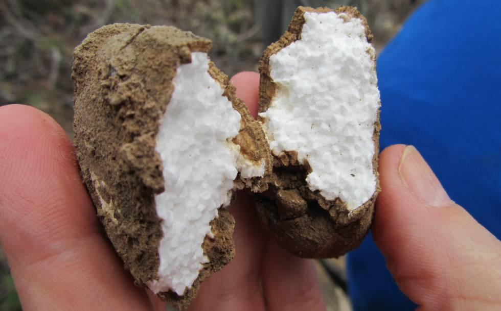 Piedra de calcita con un núcleo de poliestireno, hallada en el barranco.