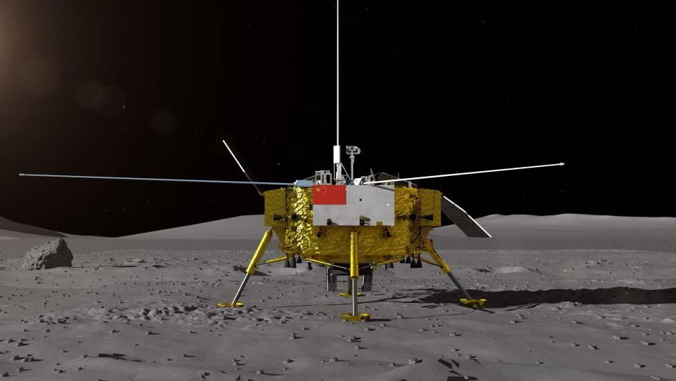 Recreación de la nave 'Chang'e 4' en la Luna facilitada por el Centro de Ingeniería Espacial y Exploración Lunar de la Administración Nacional Espacial de China.