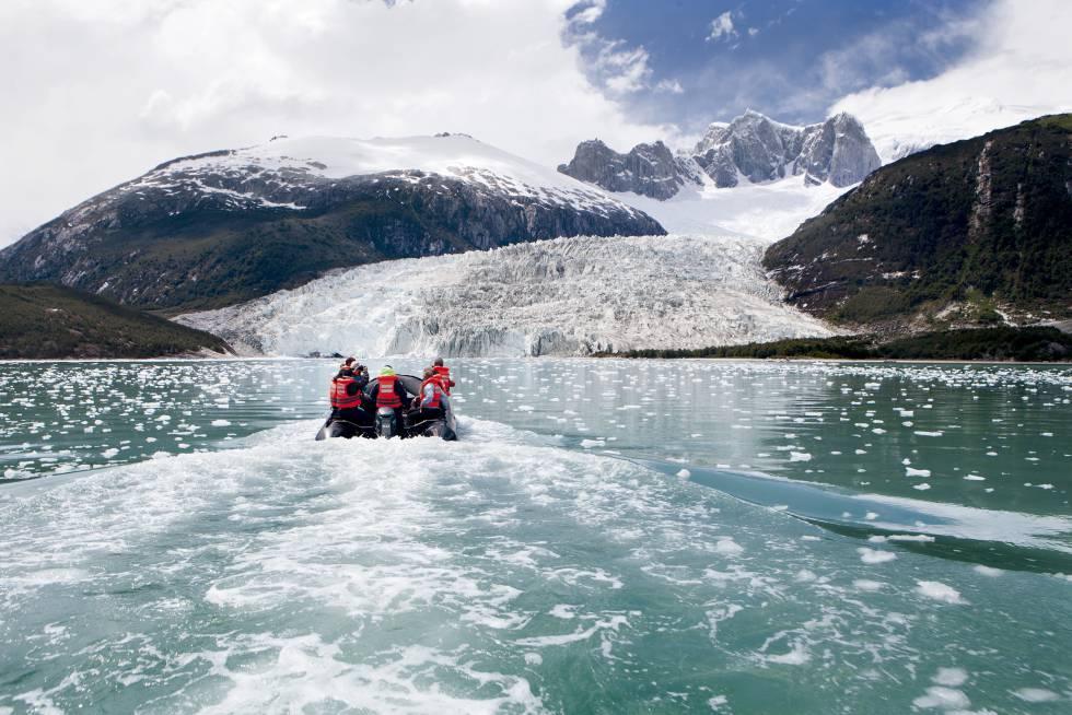 Glaciar Pía, en el canal Beagle, Tierra del Fuego.