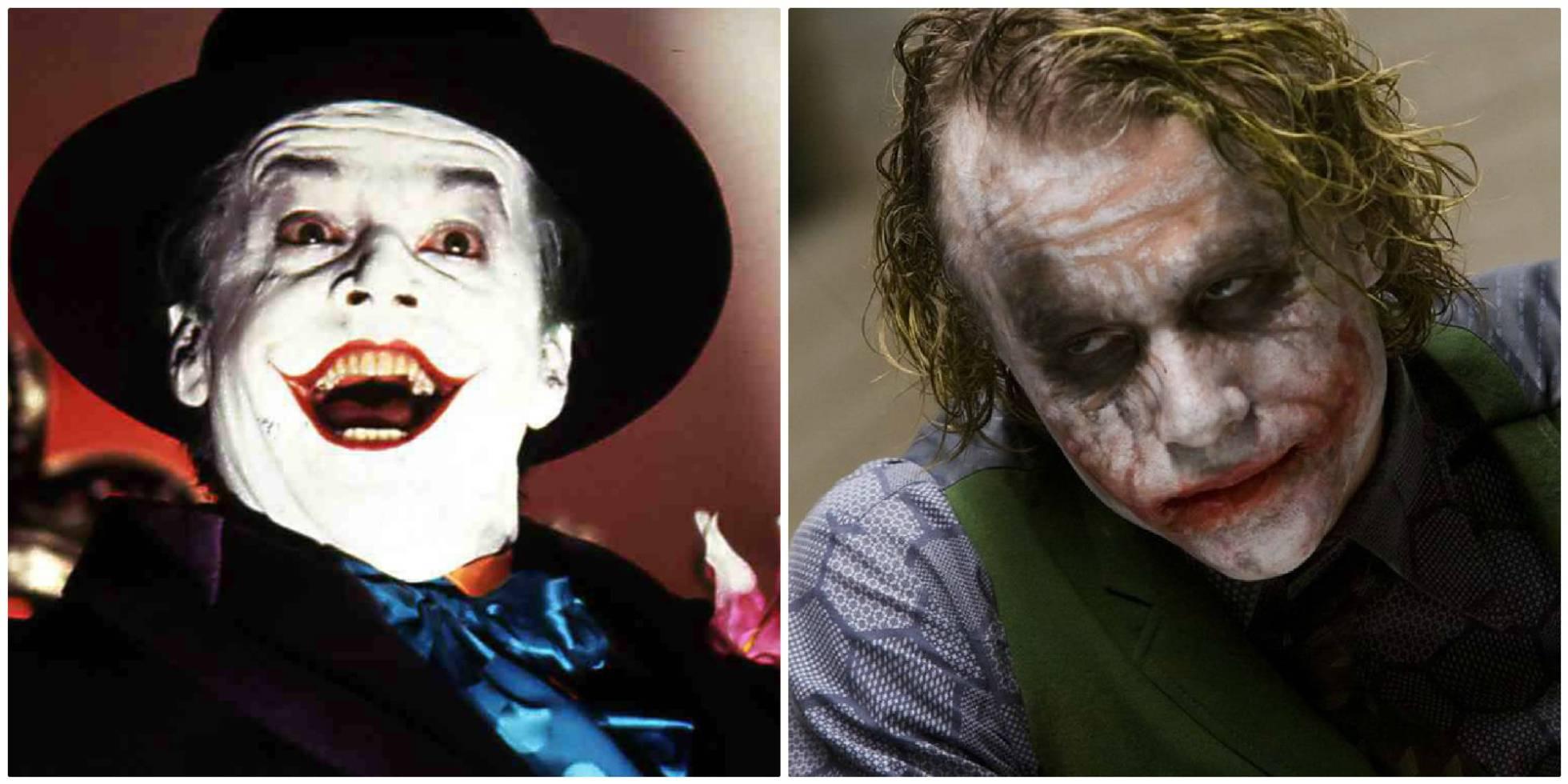 Jack Nicholson e, a sinistra, Heath Ledger, suonare il Jocker in diversi film