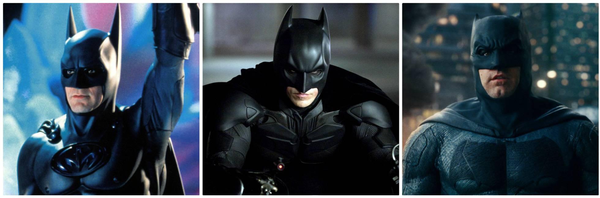 Da sinistra a destra, tre attori che hanno giocato a Batman: George Clooney (1997), Christian Bale (2012) e Ben Affleck (2017)