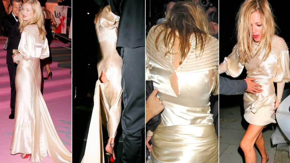 Kate Moss e seu vestido de Dior em uma festa da Vitória & Albert Museum celebrada em Londres em 2007.