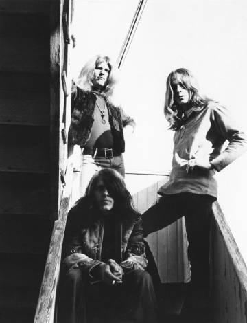 Los tres miembros de Blue Cheer (Dickie Peterson, Leigh Stephens y Paul Whaley) a finales de los sesenta.