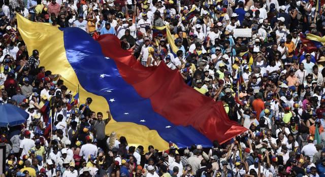 Manifestación en apoyo a Guaidó en Caracas.
