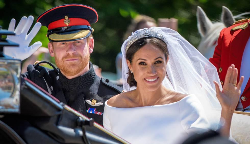 Meghan Markle y Enrique de Inglaterra, duques de Sussex, el 19 de mayo, en su boda.