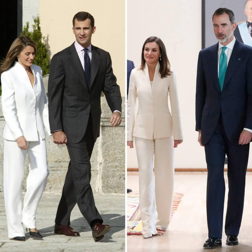Felipe y Letizia (vestida con el mismo traje blanco de Armani), en noviembre de 2003 y en febrero de 2019.
