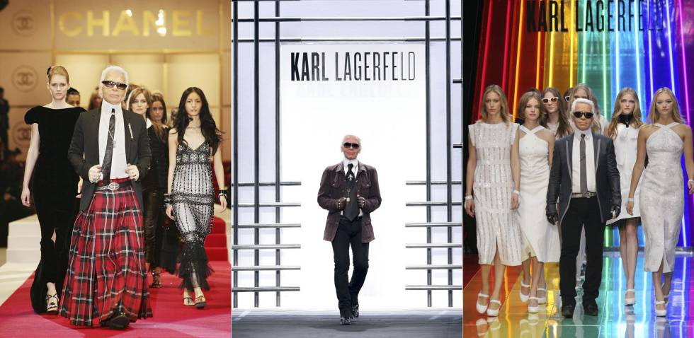 Karl Lagerfeld em alguns de seus desfiles.