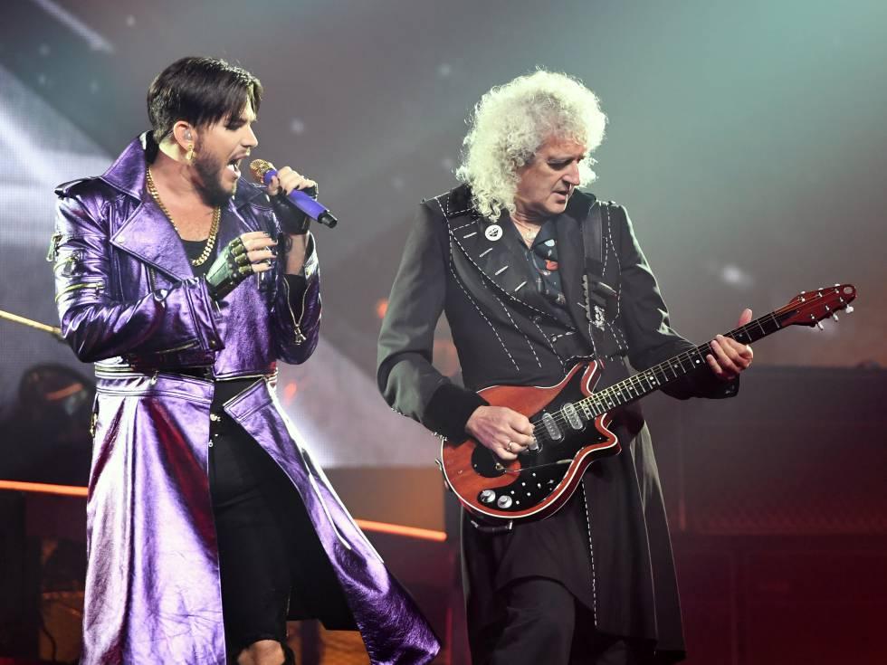 Adam Lambert y Brian May durante un concierto de Queen en Las Vegas en septiembre de 2018.