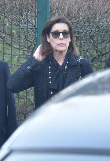 Carolina de Mónaco en la incineración de Karl Lagerfeld, en Mont-Valerien, el pasado viernes.