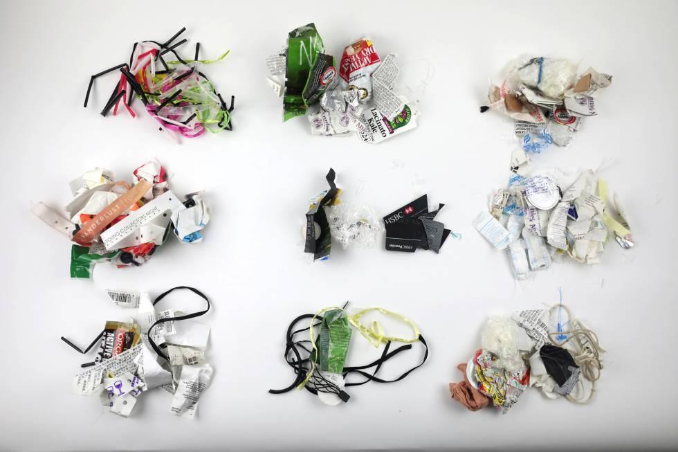 Basura no reciclable producida por la bloguera y activista Lauren Singer durante cinco años.