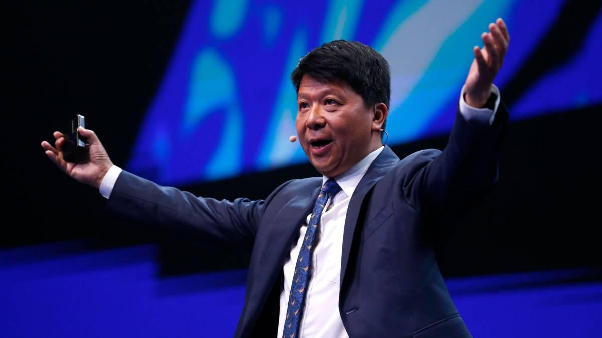 Guo Ping, presidente de Huawei, este martes.