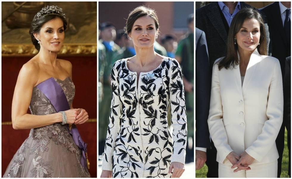 La reina Letizia en diferentes actos.