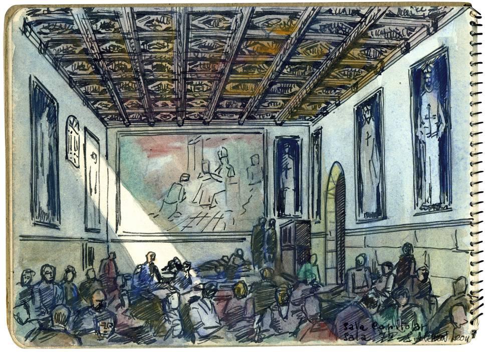 Campo de concentración habilitado en el convento de San Marcos, en León. Sala Capitular repleta de internos. (Dibujo realizado por Cástor González, preso de San Marcos).