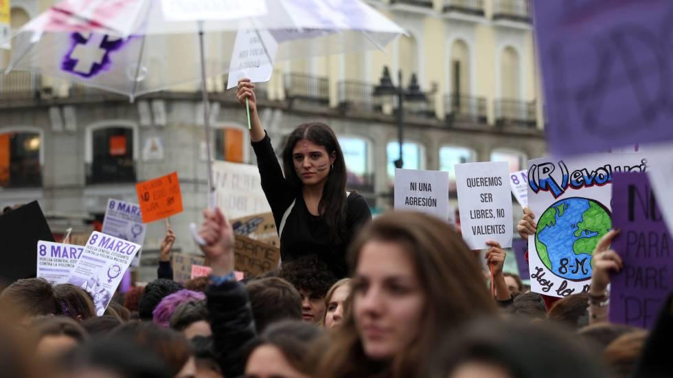 Concentración del pasado 8 de marzo, Día Internacional de la Mujer, en la puerta del Sol de Madrid.