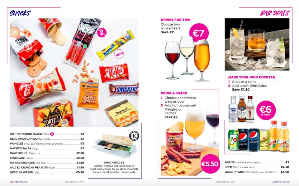 Sección Wizz Café en la revista a bordo de un avion de Wizz Air
