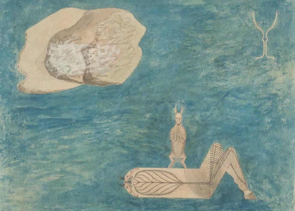 Eje del mundo con liebre, obra de August Natterer, un artista con esquizofrenia