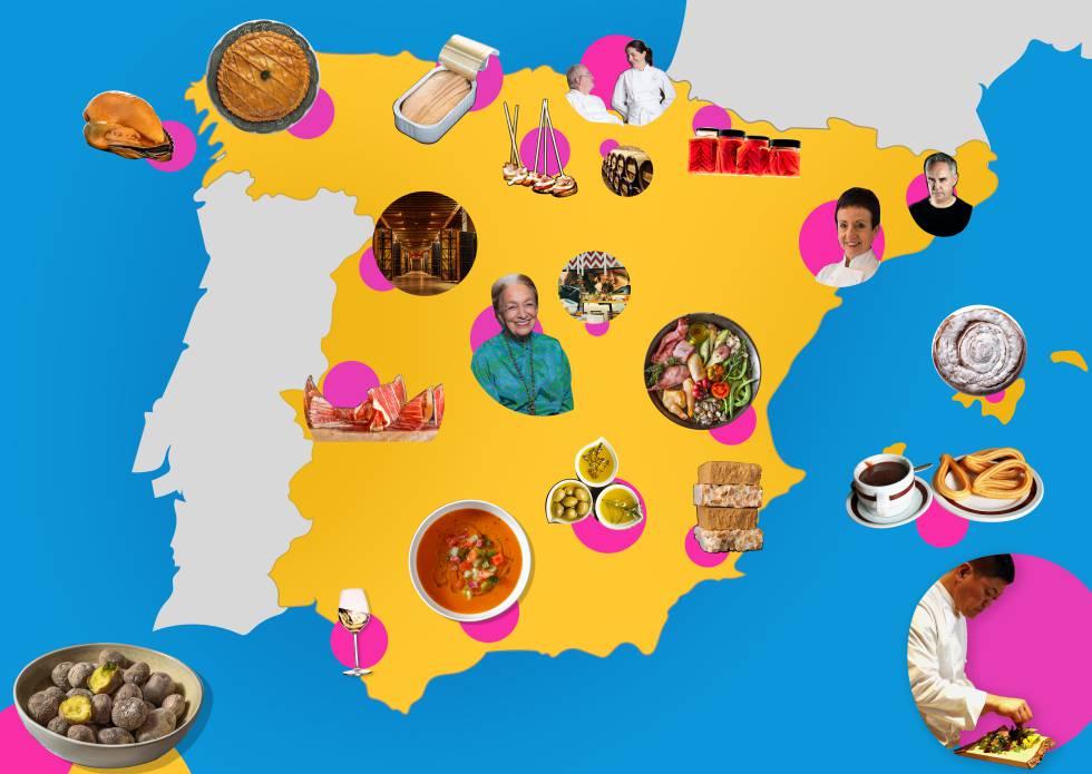 Una imagen del mapa gastronómico de España dentro del proyecto de Google Arts & Culture 'España: cocina abierta'.