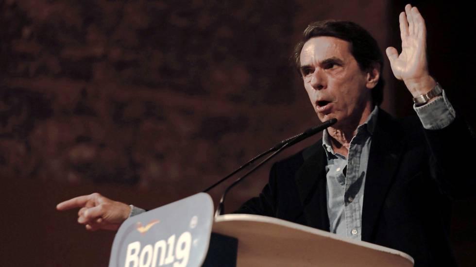 El expresidente del Gobierno José María Aznar, este miércoles en el acto electoral organizado por el PP de la Comunidad Valenciana.