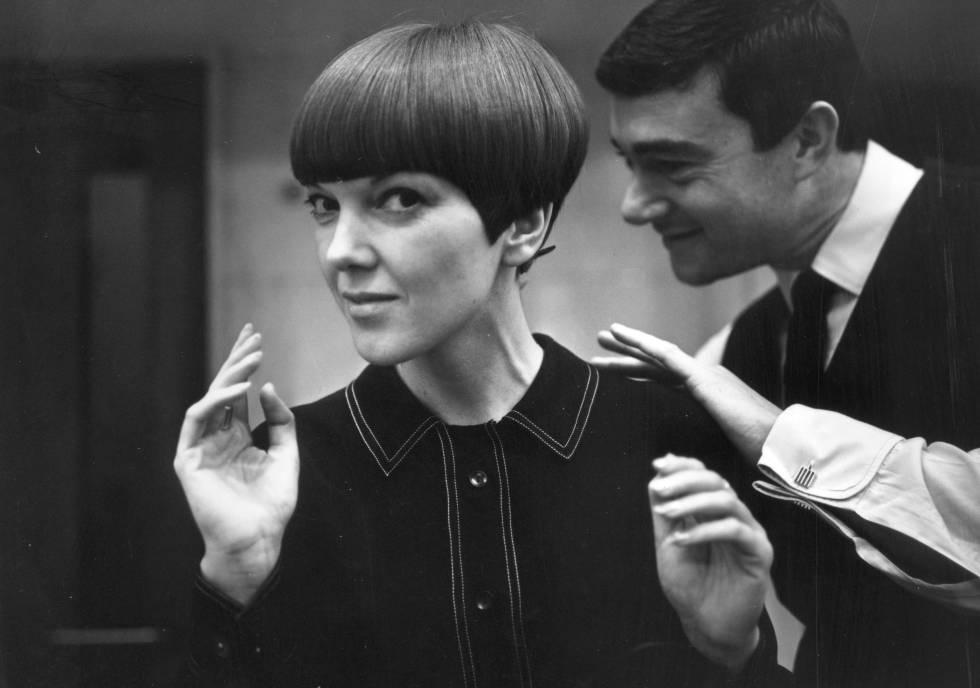 Mary Quant, con el peluquero Vidal Sassoon en 1964.