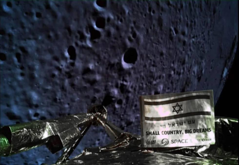 Este selfie, a 20 kilómetros de altura, fue tomado poco antes de que la sonda 'Bersheet' se estrellase contra la Luna