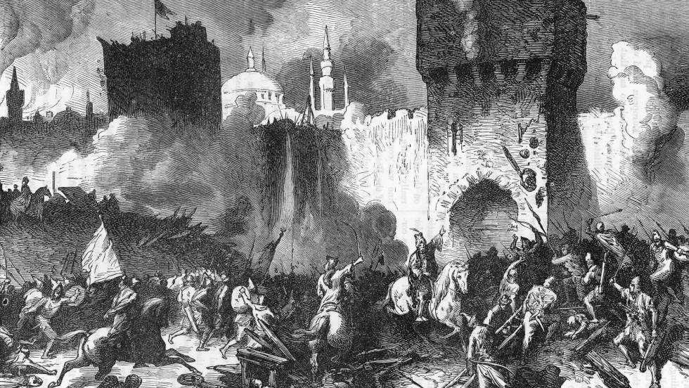 El asalto final tras el sitio de Constantinopla.