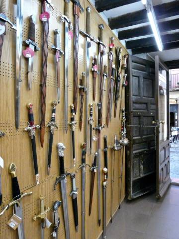 Some of the swords for sale in Mariano's shop.
