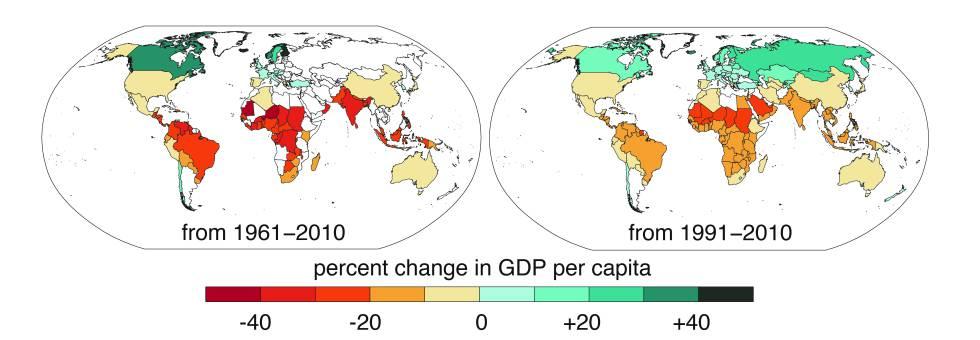 Variación del PIB per cápita afectado por el cambio climático. Las diferencias entre ambos mapas se deben a la falta de datos anteriores a 1991 de varios países.