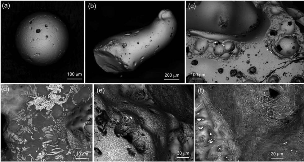 La imagen de microscopio electrónico de barrido muestra las marcas de fundido en la hiroshimaita expuesta a altísimas temperaturas.