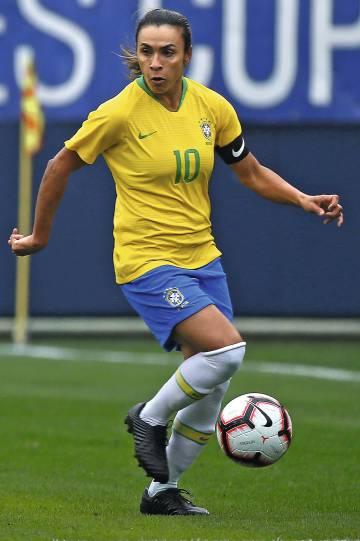 Marta durante un partido con la selección de Brasil en marzo.