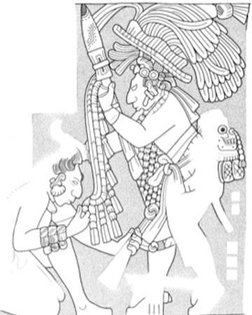 Un grabado de la ciudad maya de Yaxchilán representa al jefe local obligando a un prisionero en actitud de sumisión a besar el escudo de su captor. En la parte baja de la espalda, el rey victorioso lleva un cráneo trofeo.