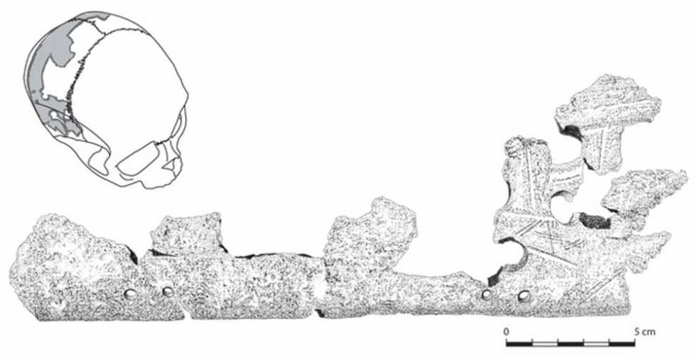 Otro fragmento del cráneo trofeo de Pacbitun.