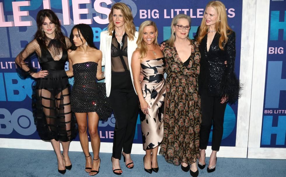 Reparto de la serie 'Big Little Lies', de izquierda a derecha: Shailene Woodley, Zoe Kravitz, Laura Dern, Reese Witherspoon, Meryl Streep y Nicole Kidman.