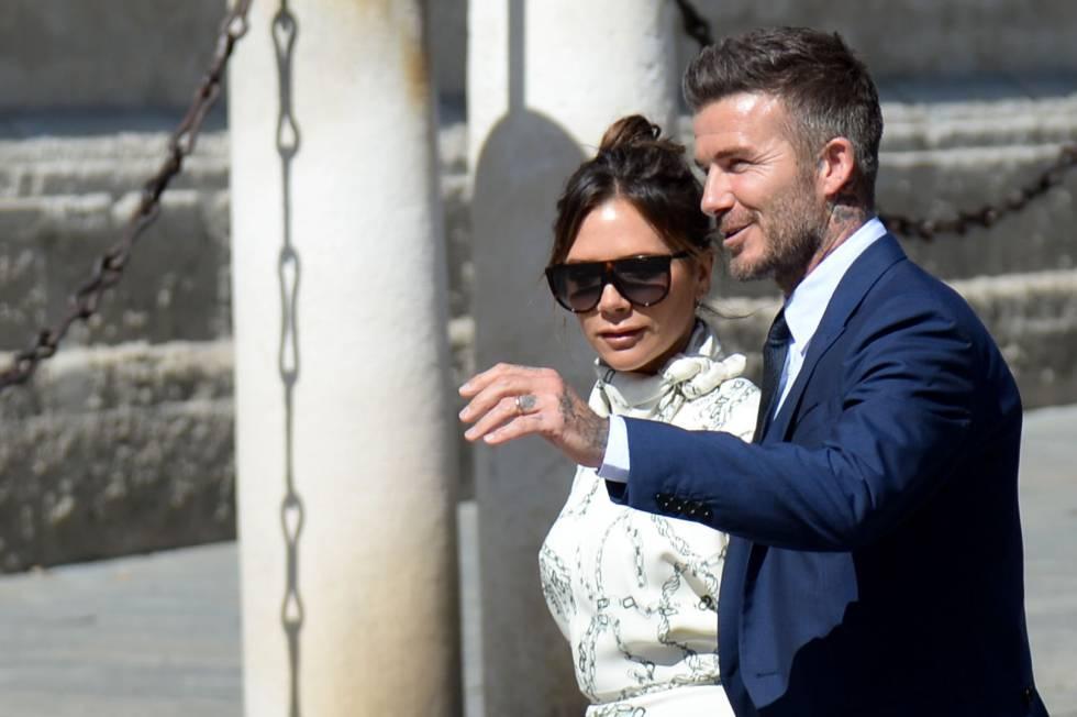 David Beckham y Victoria Bekcham, a su llegada a la catedral.