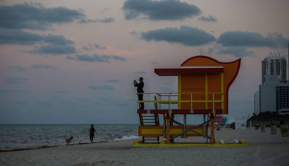 Una caseta de socorristas en Miami Beach.
