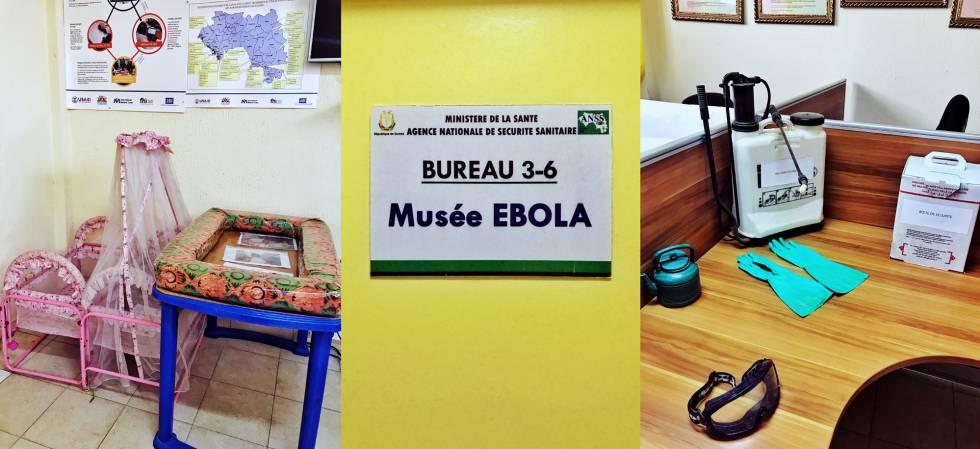 Tres fotos del Museo del ébola de Conakry: a la izquierda, cunas usadas en los centros de tratamiento infantiles; en el centro, el cartel identificativo en la puerta de entrada; a la derecha, diversos objetos utilizados durante la epidemia.