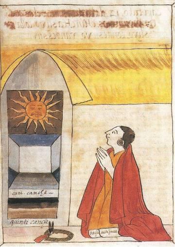 Ilustración de la crónica de Martín de Murúa que muestra al inca Pachacútec y al dios del sol Inti.