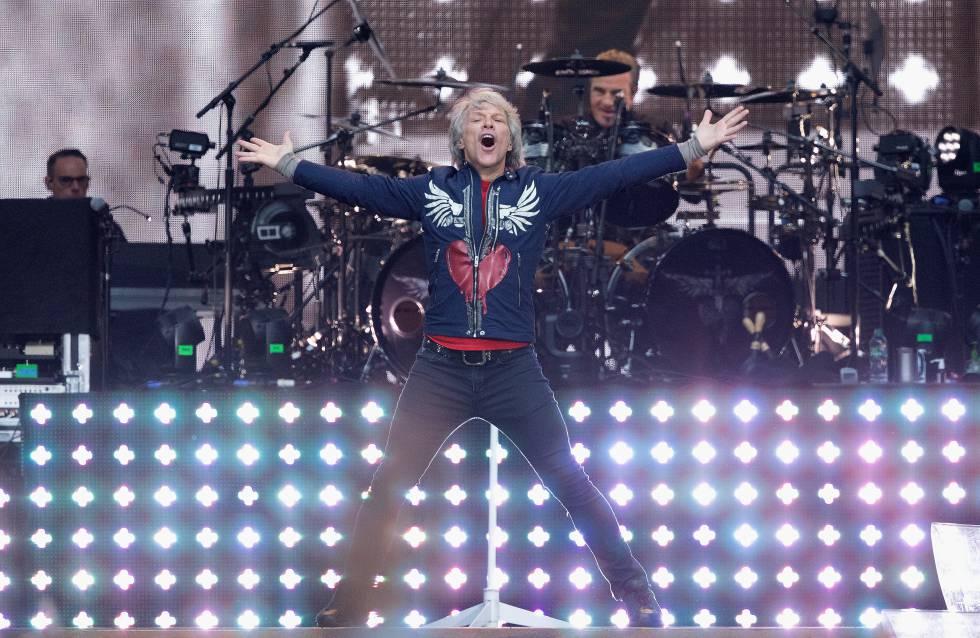 Jon Bon Jovi, líder de Bon Jovi, durante un concierto de la vanda en el Wembley Stadium de Londres en junio de 2019.