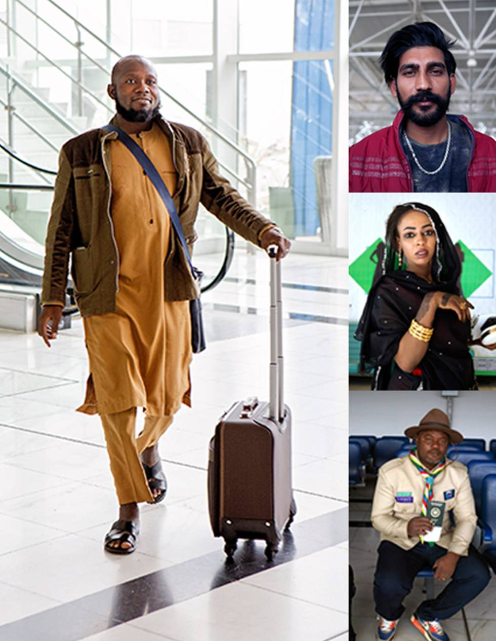 De izquierda a derecha, un viajero en la terminal nueva de Adis Abeba; un 'casco azul' indio, de viaje en la República Democrática de Congo; Zanaba Isa, una sudanesa en el aeropuerto de Adis Abeba, y Ibrahim Taki, un 'boy scout' de las islas Comoras.
