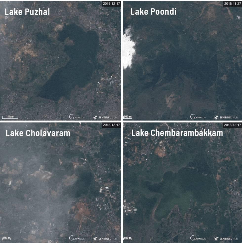 Descenso de los niveles de agua en las cuatro principales reservas hídricas de Chennai.