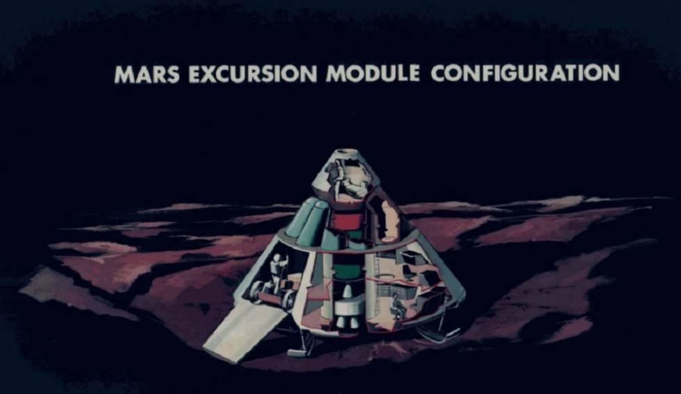 Ilustración del módulo de aterrizaje en Marte del proyecto desarrollado por Wernher von Braun en 1969