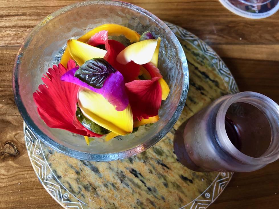 Raspado de hoja de Jamaica, mamey, flores, hierbas y corozo Capel