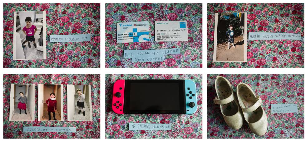 Fotos que guarda la niña de momentos importantes de su vida con las etiquetas que los describen, escritas por ella.