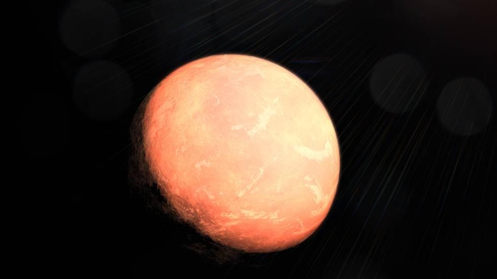 Reconstrucción artística del planeta intermedio en el nuevo sistema solar descubierto en la enana roja GJ357.