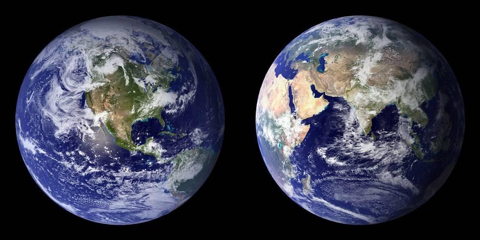 Dos vistas de la Tierra desde el espacio.