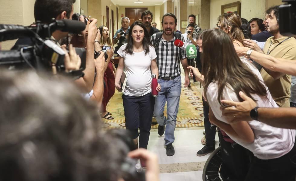 Irene Montero y Pablo Iglesias, en el Congreso el pasado 5 de julio.