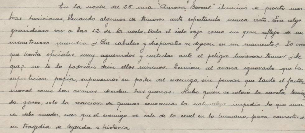 La carta del 28 de enero de 1938, con el pasaje en el que Antonio Esteve relata a su familia desde Villastar, en el frente de Teruel, la experiencia de haber observado tres días antes la aurora boreal. La carta fue hallada recientemente junto a documentos y objetos personales en una maleta.
