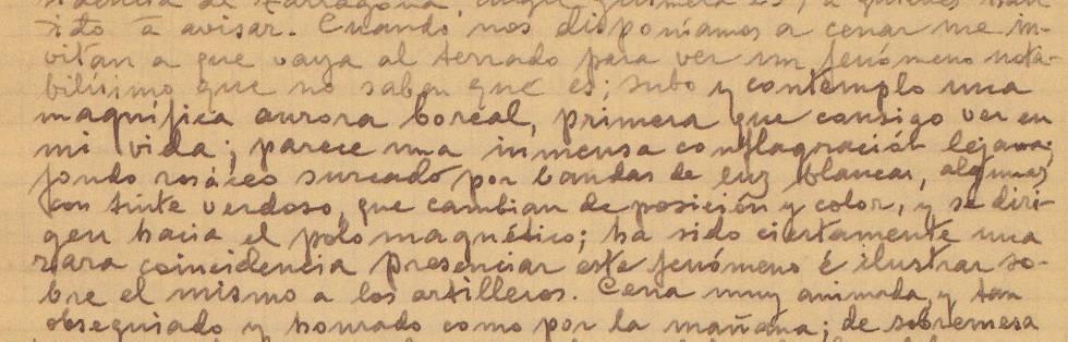Anotaciones de Luis Rodés, director del Observatorio del Ebro, con la descripción de la aurora boreal. El fragmento, publicado en su libro 'Diario en tiempo de guerra', pertenece a los diarios que escribió entre el verano de 1936 y julio de 1938.