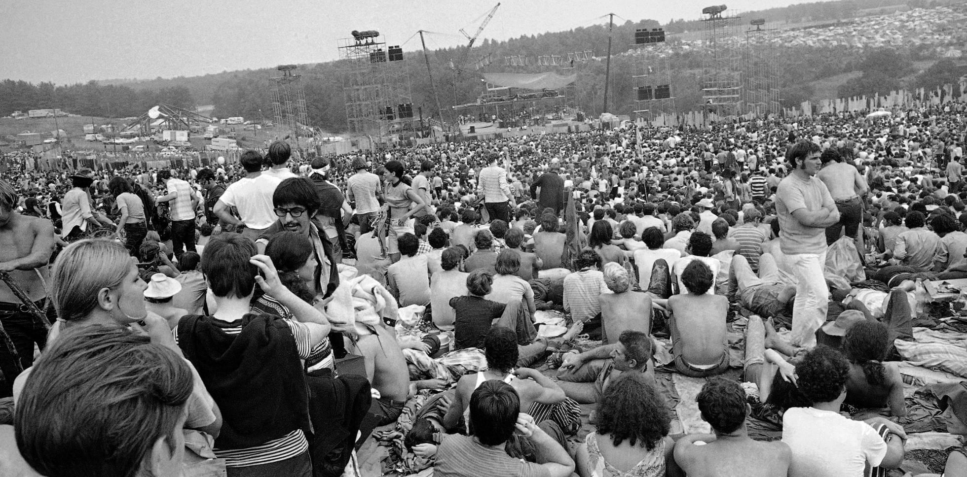 Festivalk de Música y Artes Woodstock, en agosto de 1969, en Bethel (New York).