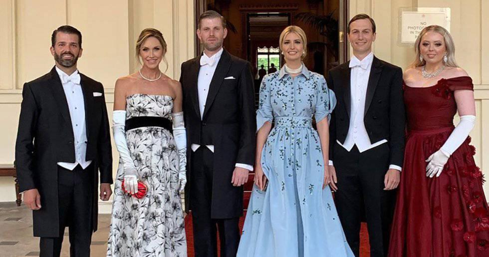 Los hijos de Trump con sus parejas. Desde la izquierda: Donald Jr; Lara y Eric; Ivanka y Jared Kushner; y Tiffany Trump.