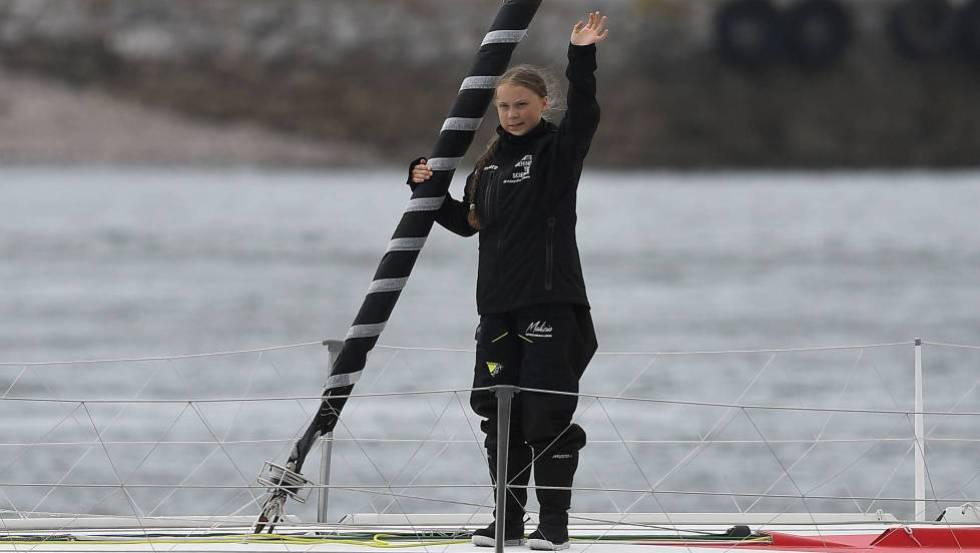 Greta Thunberg, la semana pasada, al partir en barco desde Plymouth (Inglaterra) hacia Nueva York.